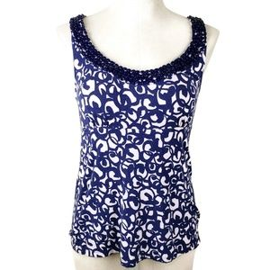 Boden Size 6 Blue Sleeveless Top Beaded Neckline